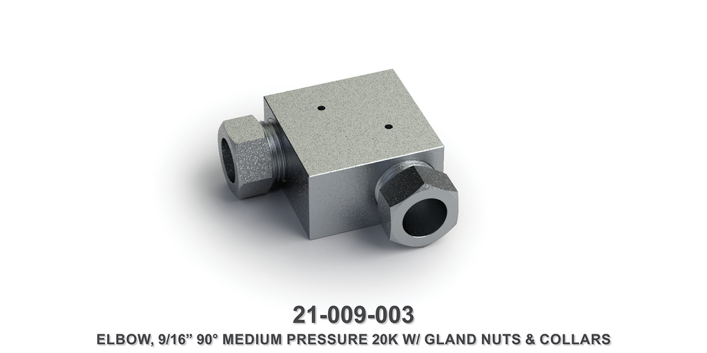 "20K 9/16"" 90-Degree Medium Pressure Elbow with Gland Nuts and Collars"