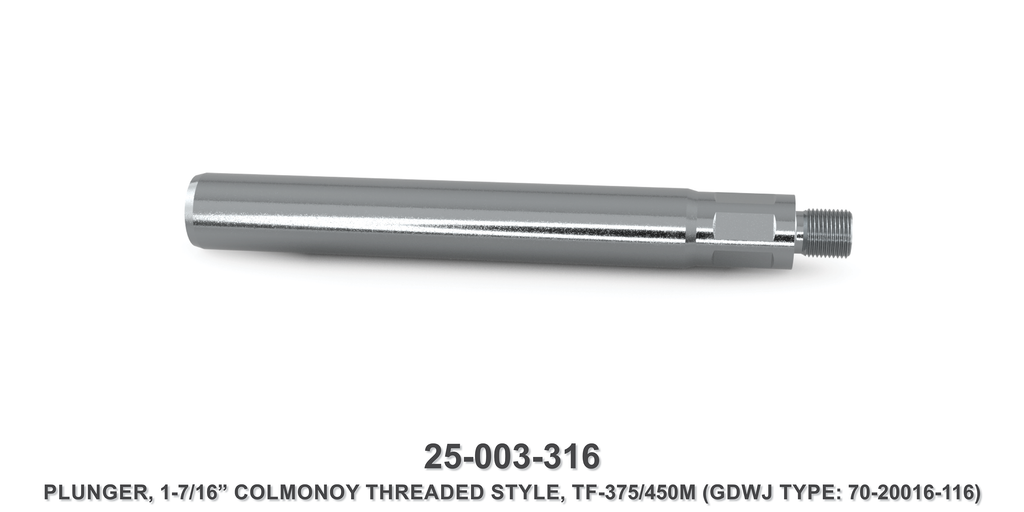 "15K 1-7/16"" TF-375M/450M Colmonoy Threaded Style Plunger - Gardner Denver / Butterworth Type"