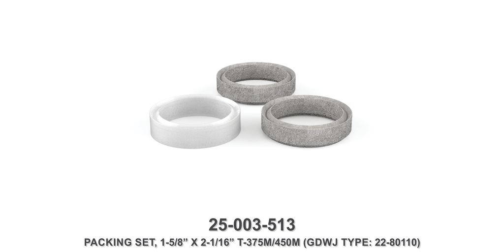 "15K 1-5/8"" x 2-1/16"" TF-375M/450M Front Packing Set - Gardner Denver / Butterworth Type"