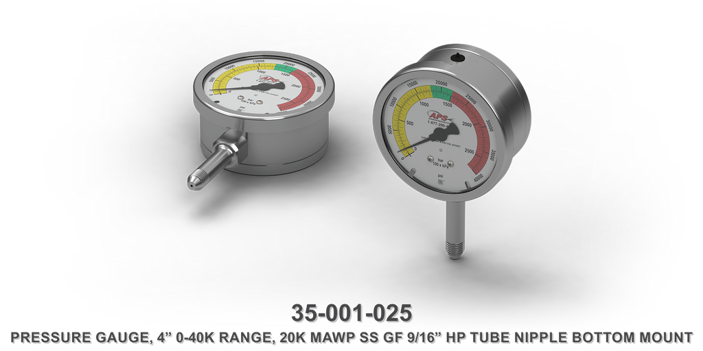 "20K MAWP 4"" 0-40K Range Stainless Steel GF 9/16"" HP Tube Nipple Bottom Mount Pressure Gauge"