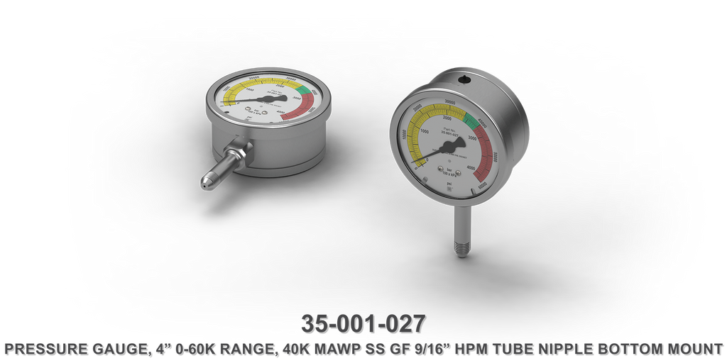 "40K MAWP 4"" 0-60K Range Stainless Steel GF 9/16"" HPM Tube Nipple Bottom Mount Pressure Gauge"