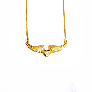 FLYBOY FLYING HEART NECKLACE IN YELLOW GOLD