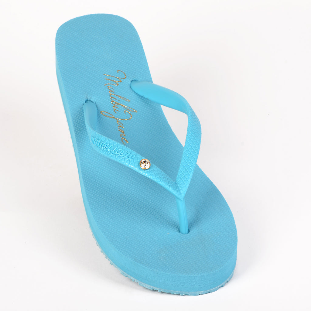 Malibu Jane comfortable flip flop Hollywood w/Crystal Turquoise