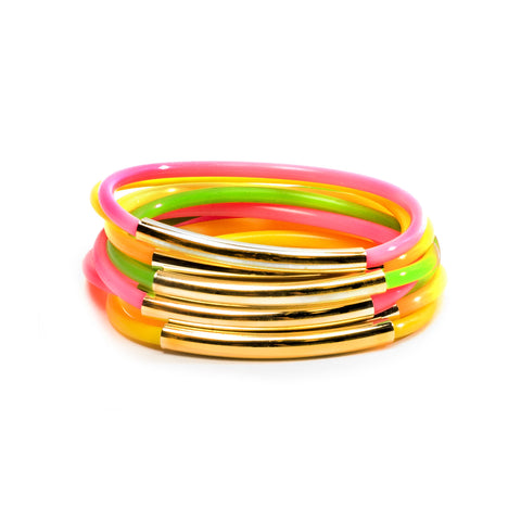 NEON TUBE JELLIES BRACELET STACK WITH GOLD BANDS