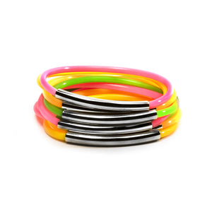 NEON TUBE JELLIES BRACELET STACK WITH GUNMETAL BANDS