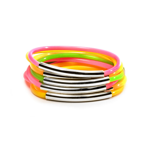 NEON TUBE JELLIES BRACELET STACK WITH SILVER BANDS