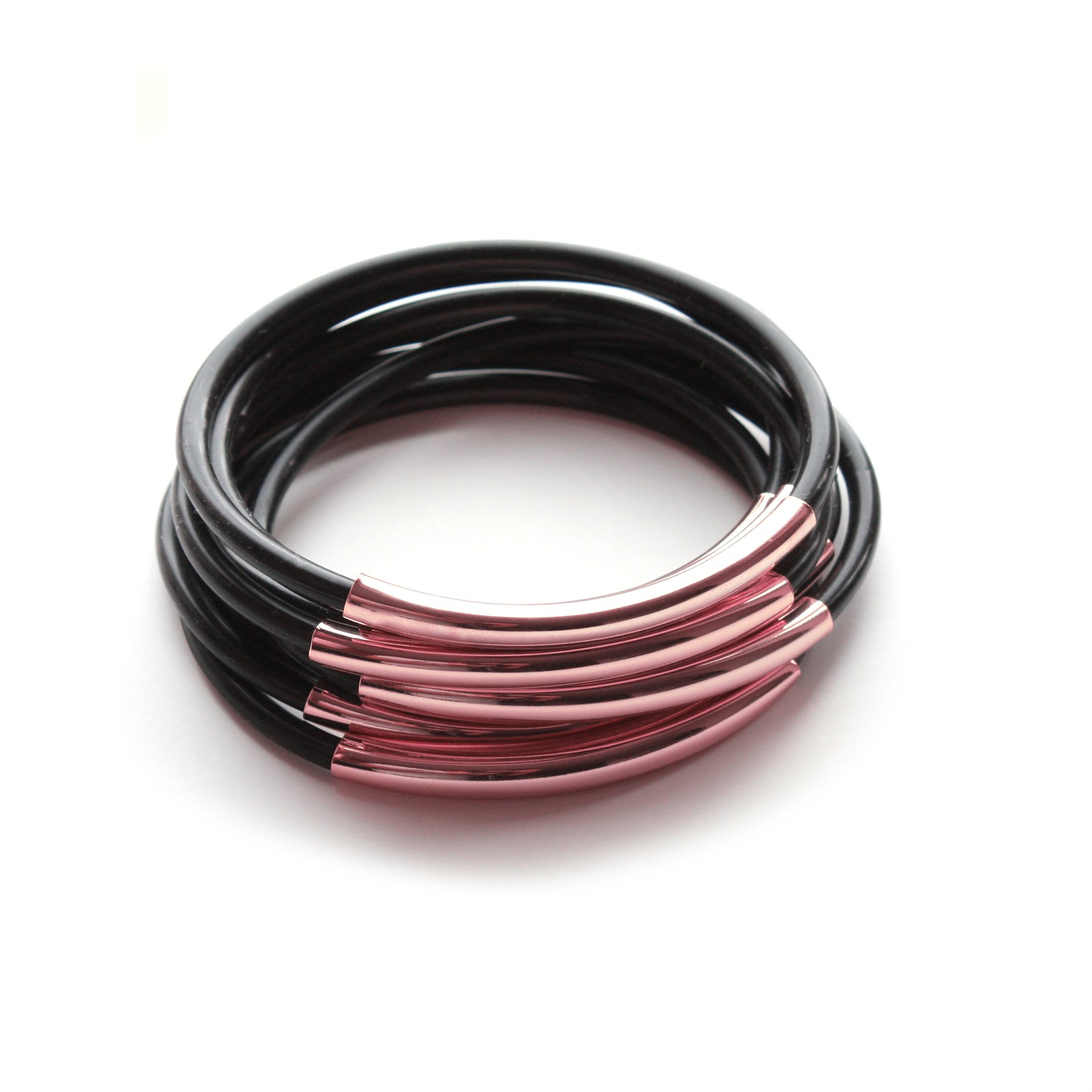 TUBE JELLIES BRACELET STACK IN BLACK WITH ROSE GOLD