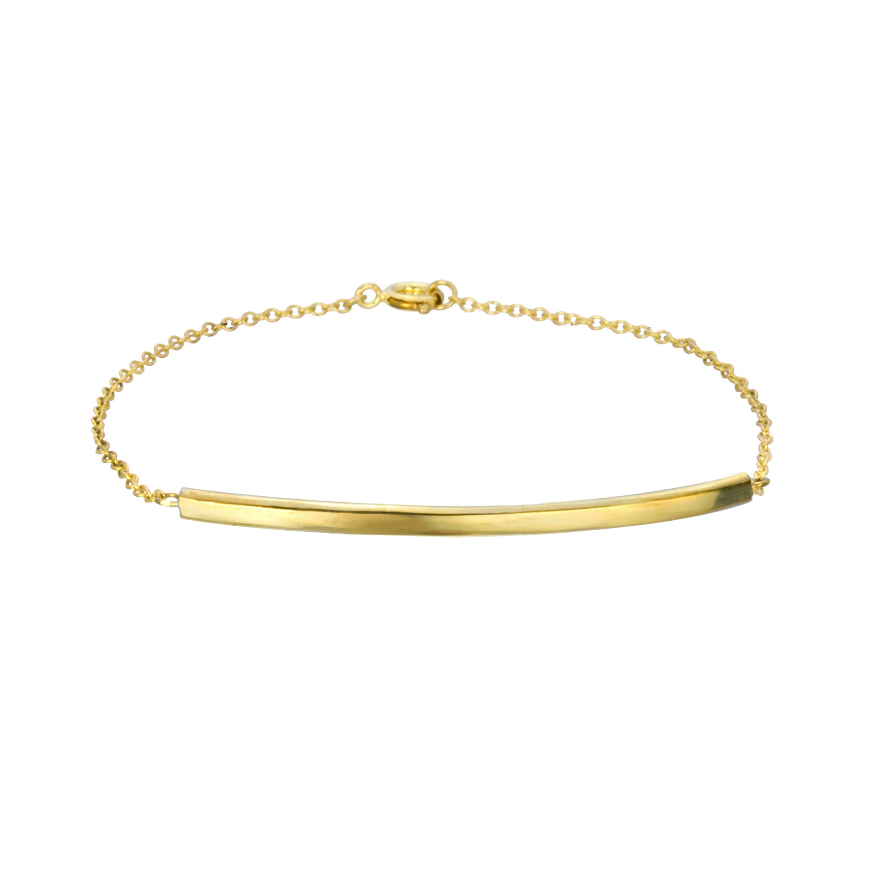 BAR AND CHAIN BRACELET IN YELLOW GOLD