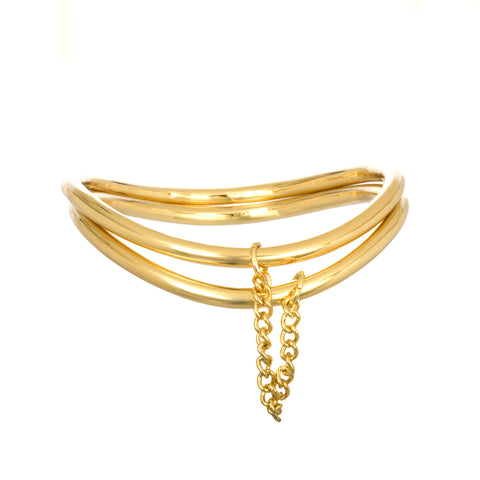 DOUBLE BANGLE WITH CHAIN IN YELLOW GOLD
