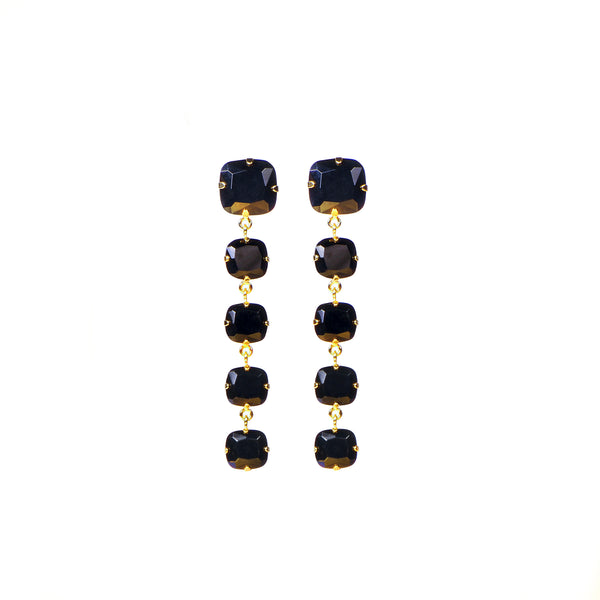 BLACK JEWEL DROP EARRINGS IN GOLD