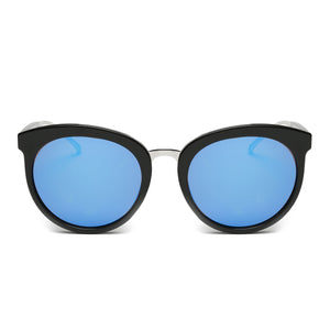 LAGUNA SUNGLASS IN BLACK WITH BLUE LENSES