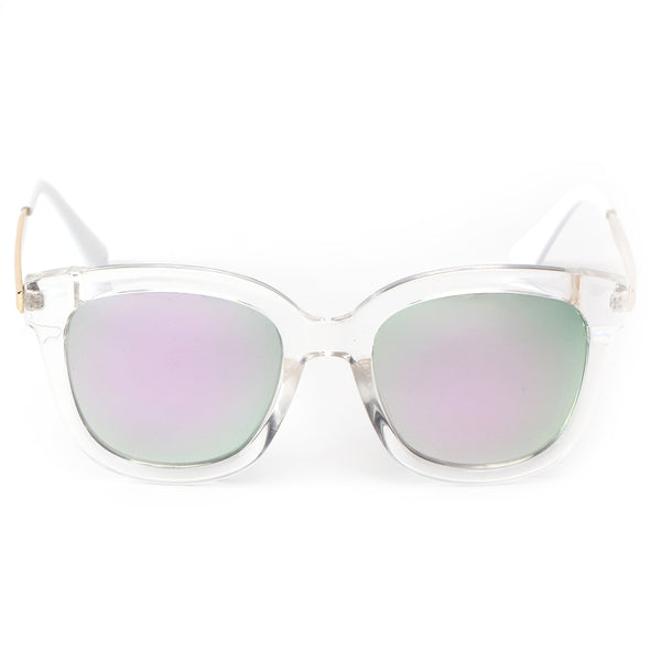 LAGUNA SUNGLASS IN CLEAR WITH MIRROR GREEN