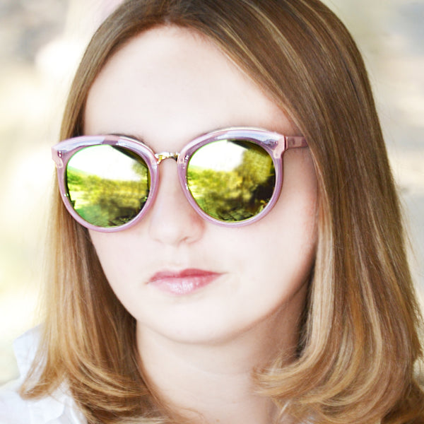 LAGUNA SUNGLASS IN PINK WITH PINK TO ORANGE MIRROR LENSES