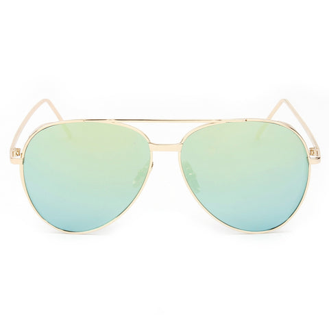 RECIFE SUNGLASS IN GOLD AND BLUE MIRROR