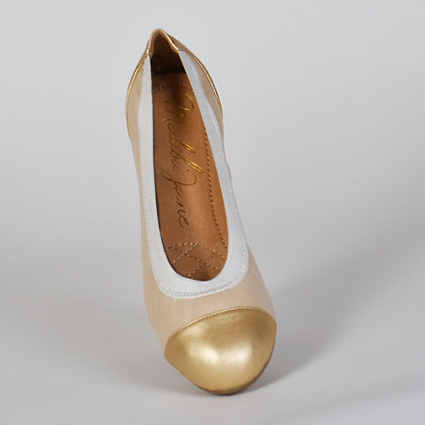 Malibu Jane comfortable ballet flats Santa Barbara Cream/Gold