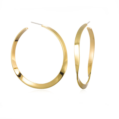 WAVY HOOPS EARRINGS YELLOW GOLD