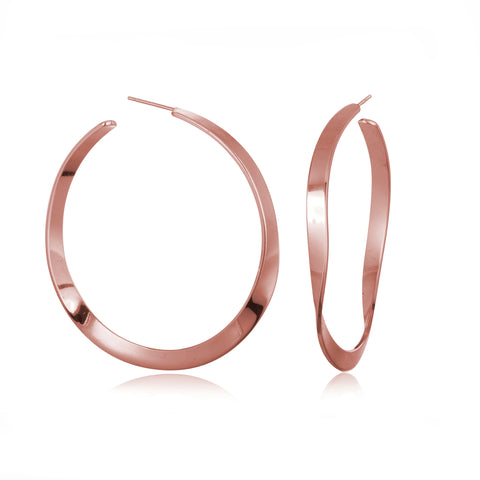 WAVY HOOPS EARRINGS ROSE GOLD