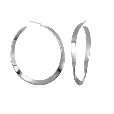 WAVY HOOPS EARRINGS SILVER