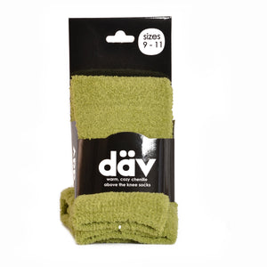GREEN CHENILLE COZY ABOVE KNEE SOCK