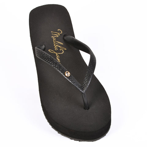 Hollywood Flip Flop in Black with Crystal