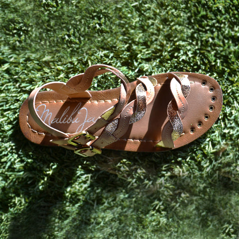 Malibu Jane comfortable vegan leather Laguna woven three strap sandal