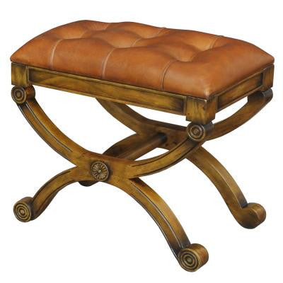 Empire Stool with Tufted Leather