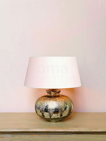 Glass Lamp with Antique Silver Grape Design