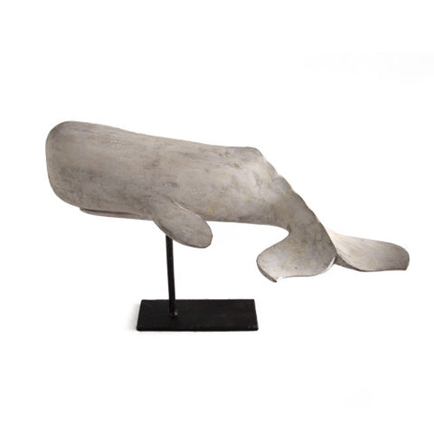 White Wooden Whale on Stand