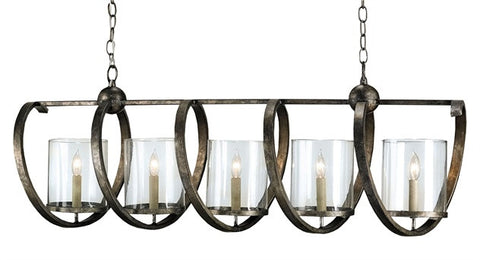 Iron Spiral Chandelier with Seeded Glass Shades