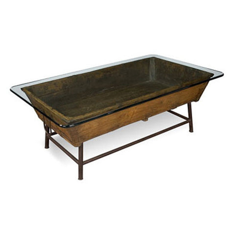 Vintage Trough with Glass Cocktail Table