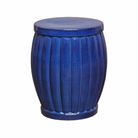 Fluted Blue Garden Stool