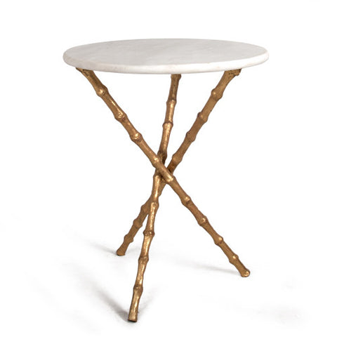 Bamboo Tripod Table in Antique Gold