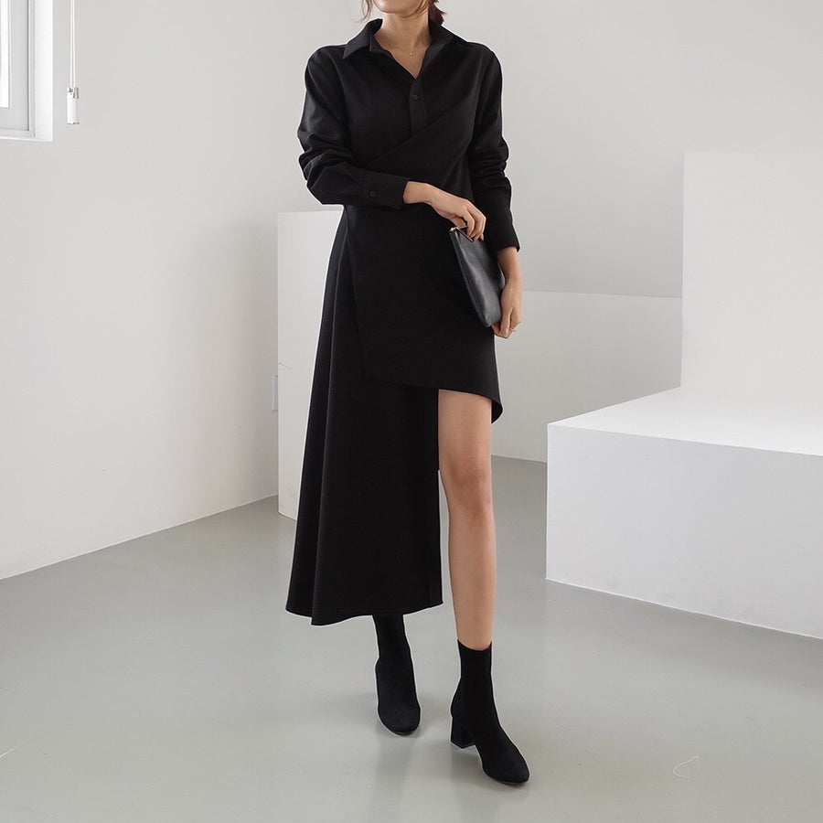 Lora shirt wrap dress black