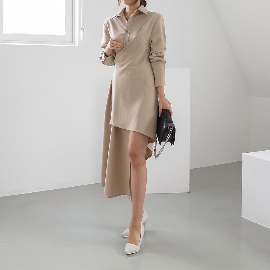 Lora shirt wrap dress beige
