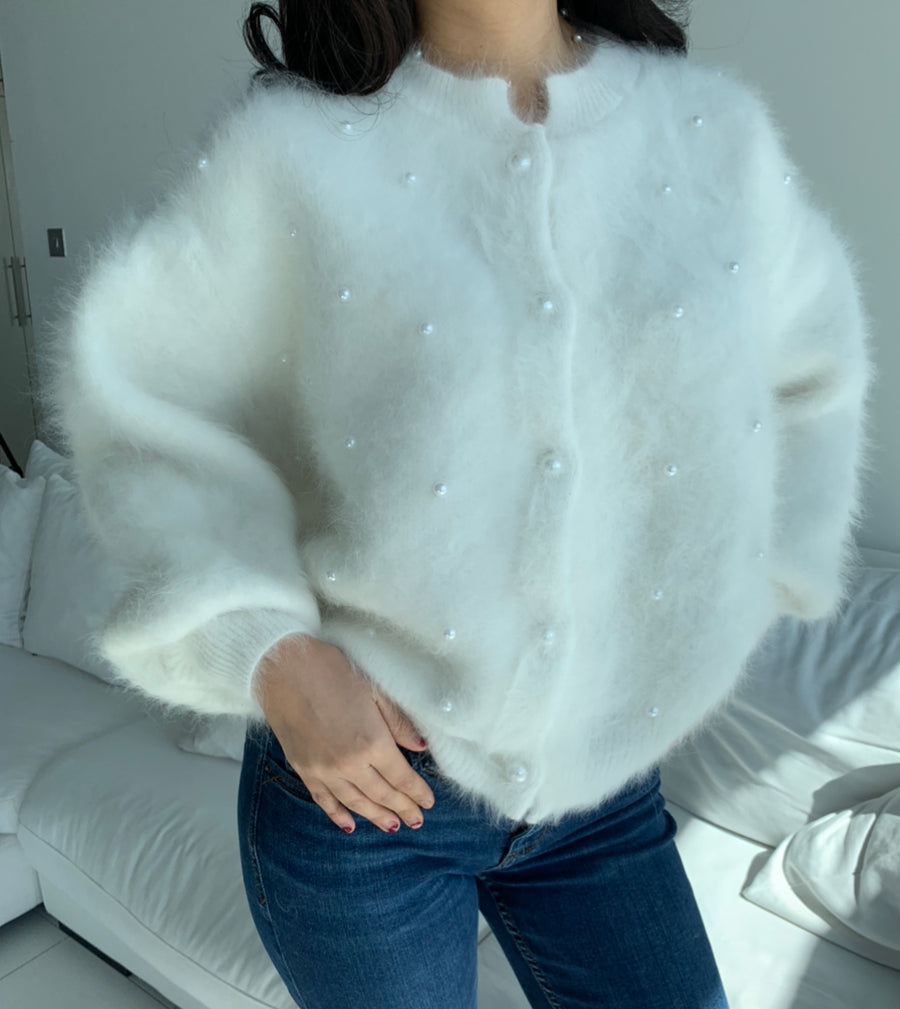 White Angora wool sweater