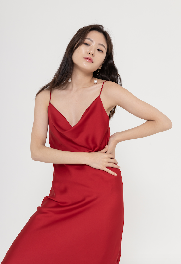 Cami satin slip dress