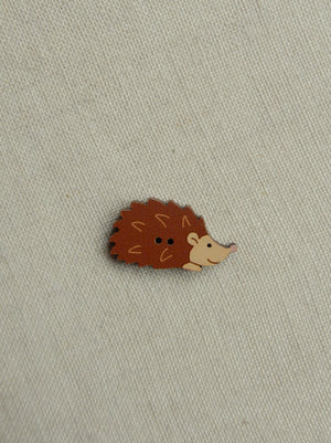 Hedgehog Button - brown