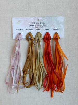 3.5mm Cedar Rose/Gothic Brown/Camel/Tomato/Pumpkin - Silk Ribbon Collection