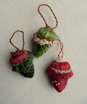 Velvet Acorn  Ornament Set Kit - red and green