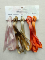 7mm Cedar Rose/Gothic Brown/Camel/Tomato/Pumpkin - Silk Ribbon Collection