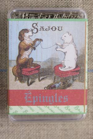 """Cat and Dog Winding Wool"" Pins"