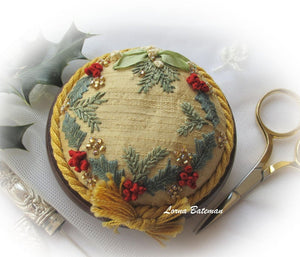Holly and Mistletoe Pin Cushion