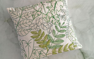 """Leafy"" Linen Cushion Panel"