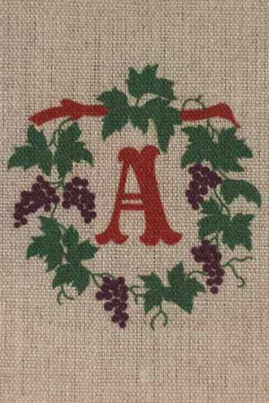 """A"" stamped on linen"