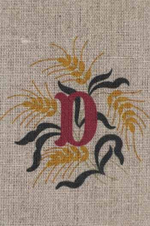 """D"" stamped on linen"