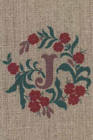 """I  or J "" stamped on linen"