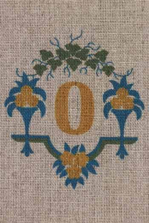 """O"" stamped on linen"