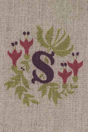 """S""  stamped on linen"