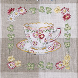 Teacups linen tea towel