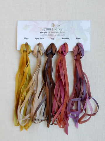 3.5 mm Moss/Aged Bark/Twig/Rosehip/Plum- Silk Ribbon Collection